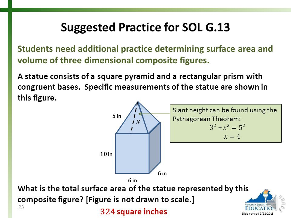 Students need additional practice determining surface area and volume of three dimensional composite figures.