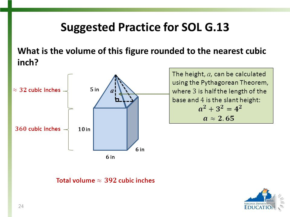 Suggested Practice for SOL G.13 What is the volume of this figure rounded to the nearest cubic inch.