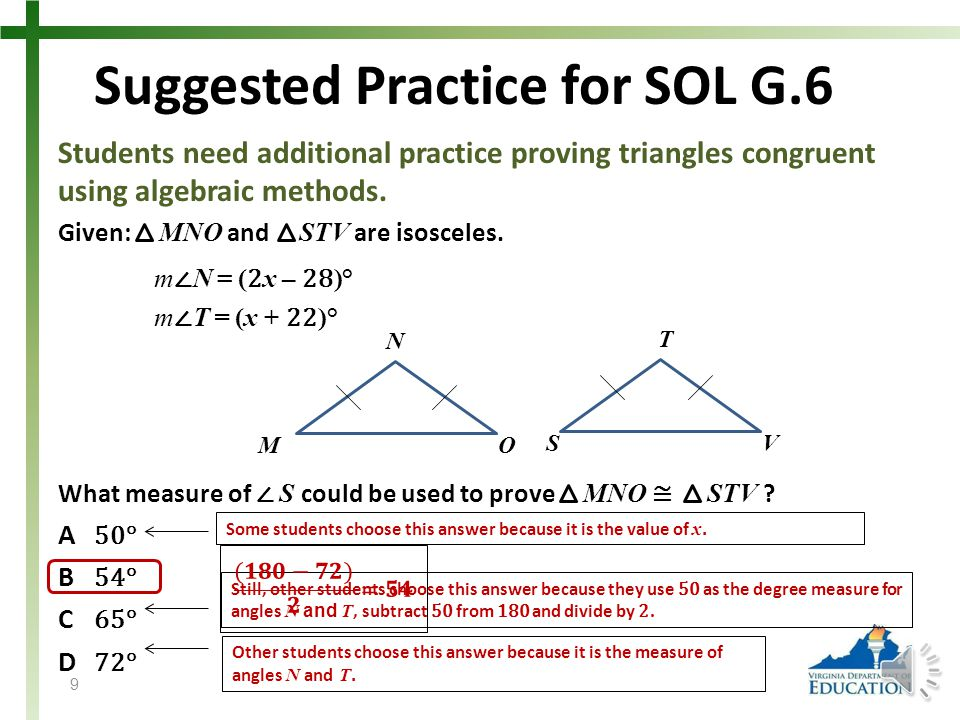 Suggested Practice for SOL G.6 Students need additional practice proving triangles congruent using algebraic methods.