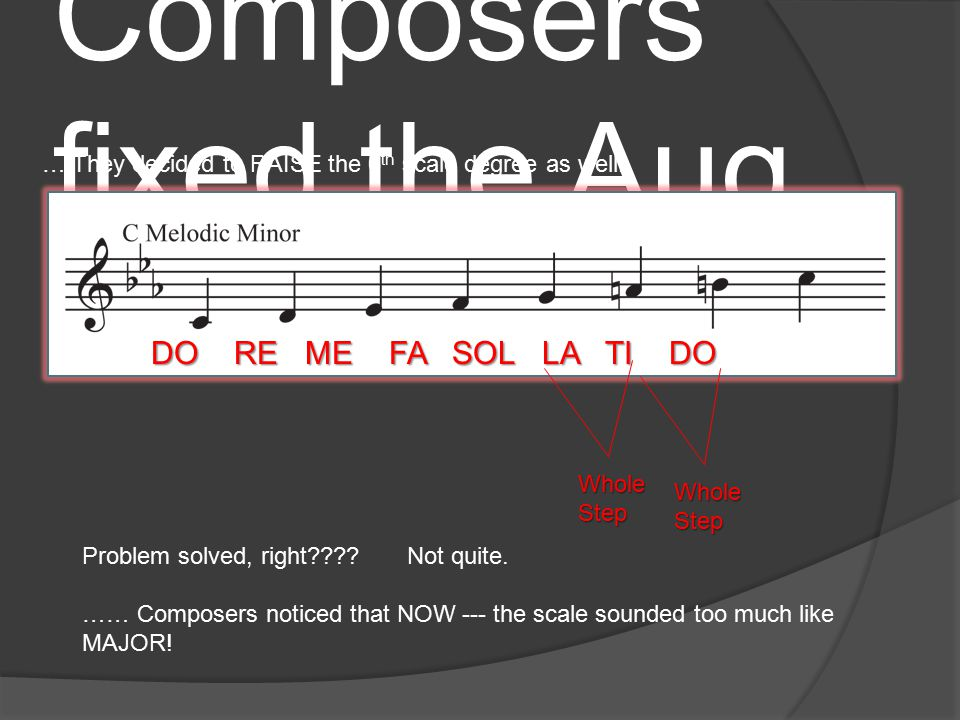 The Problem with Harmonic Minor Although composers LOVED the feel of the LEADING TONE – the Harmonic Minor scale presented another problem.