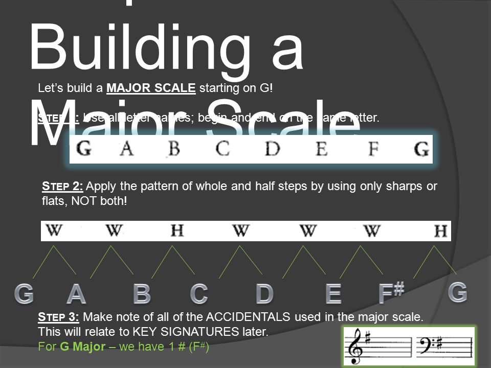 The Major Scale The Major Scale is created using a pattern of HALF and WHOLE steps.