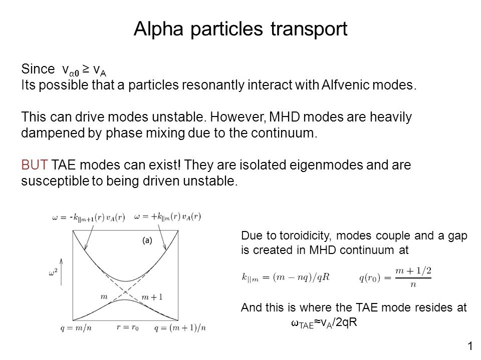 Alpha particles transport Since v  ≥ v A Its possible that a particles resonantly interact with Alfvenic modes.