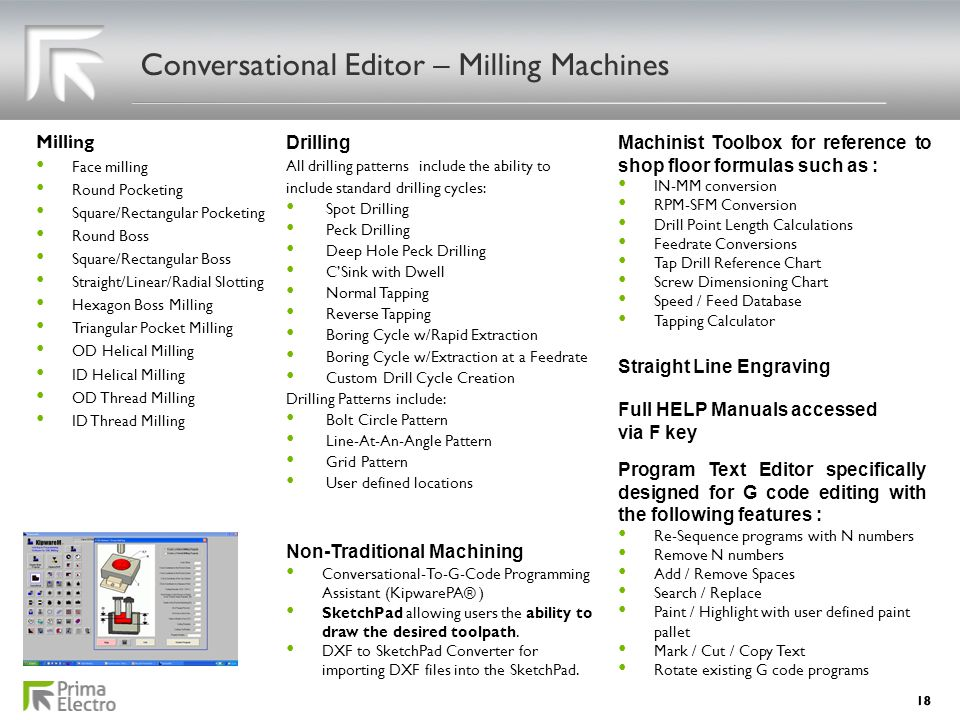 Conversational Editor – Milling Machines Milling Face milling Face milling Round Pocketing Round Pocketing Square/Rectangular Pocketing Square/Rectang