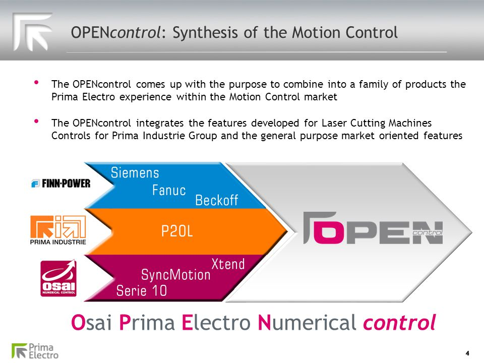 4 OPENcontrol: Synthesis of the Motion Control The OPENcontrol comes up with the purpose to combine into a family of products the Prima Electro experi