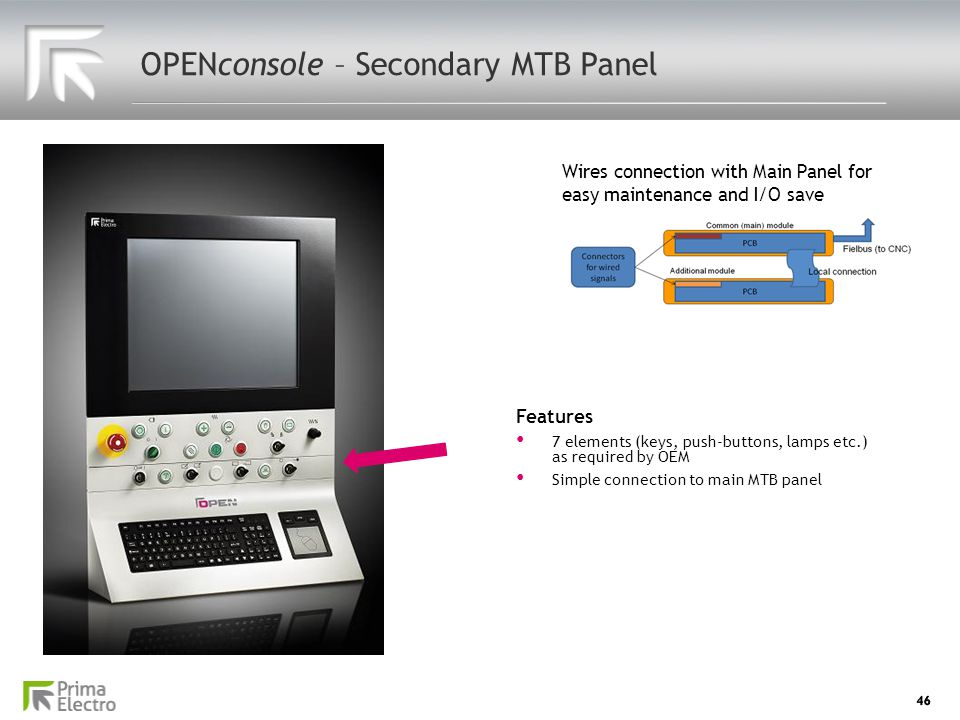 46 OPENconsole – Secondary MTB Panel Wires connection with Main Panel for easy maintenance and I/O save Features 7 elements (keys, push-buttons, lamps