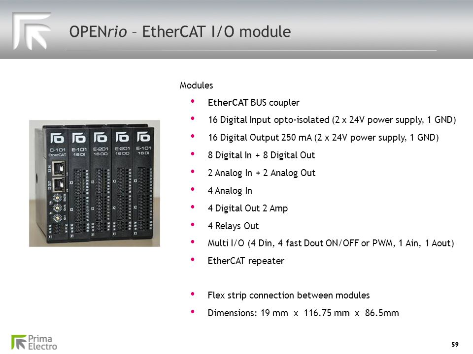 59 OPENrio – EtherCAT I/O module EtherCAT BUS coupler EtherCAT BUS coupler 16 Digital Input opto-isolated (2 x 24V power supply, 1 GND) 16 Digital Inp