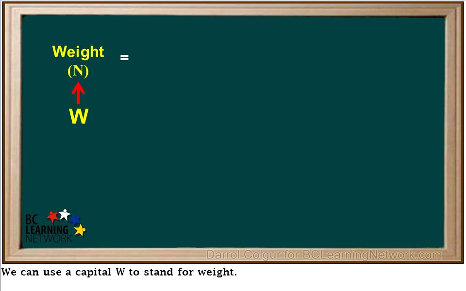 We can use a capital W to stand for weight.