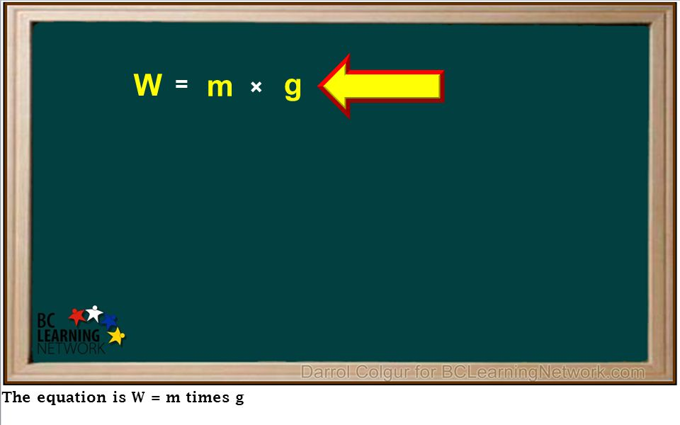 The equation is W = m times g = × W m g