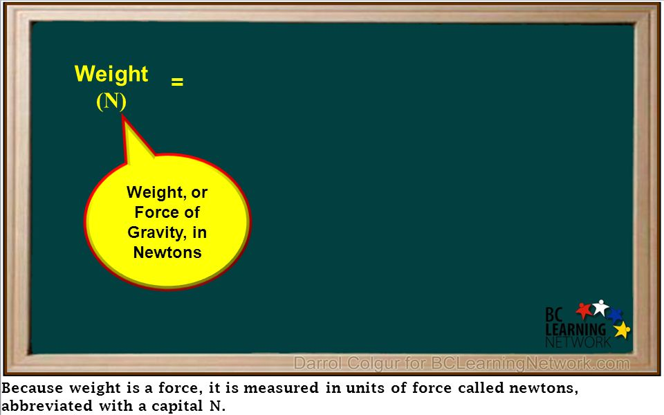 Because weight is a force, it is measured in units of force called newtons, abbreviated with a capital N.