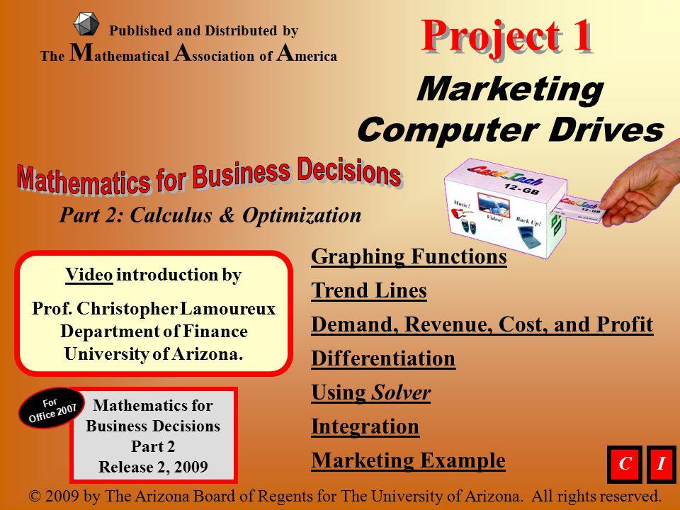 Marketing, Optimizing (material continues) Marketing Example.