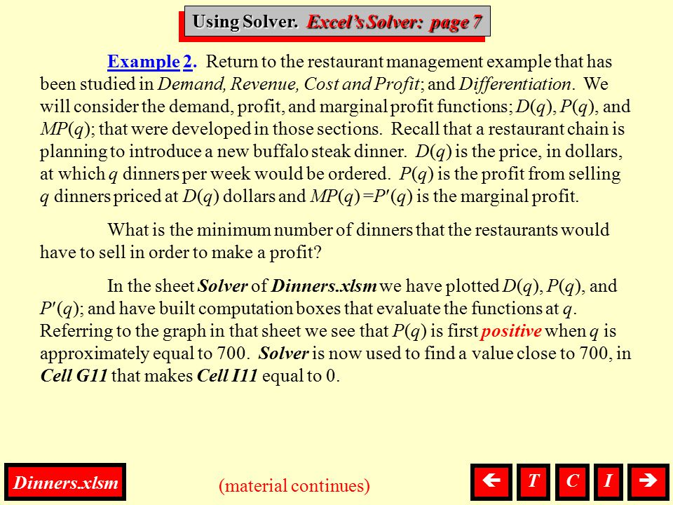 Using Solver, Solver Example 2. Return to the restaurant management example that has been studied in Demand, Revenue, Cost and Profit; and Differentia