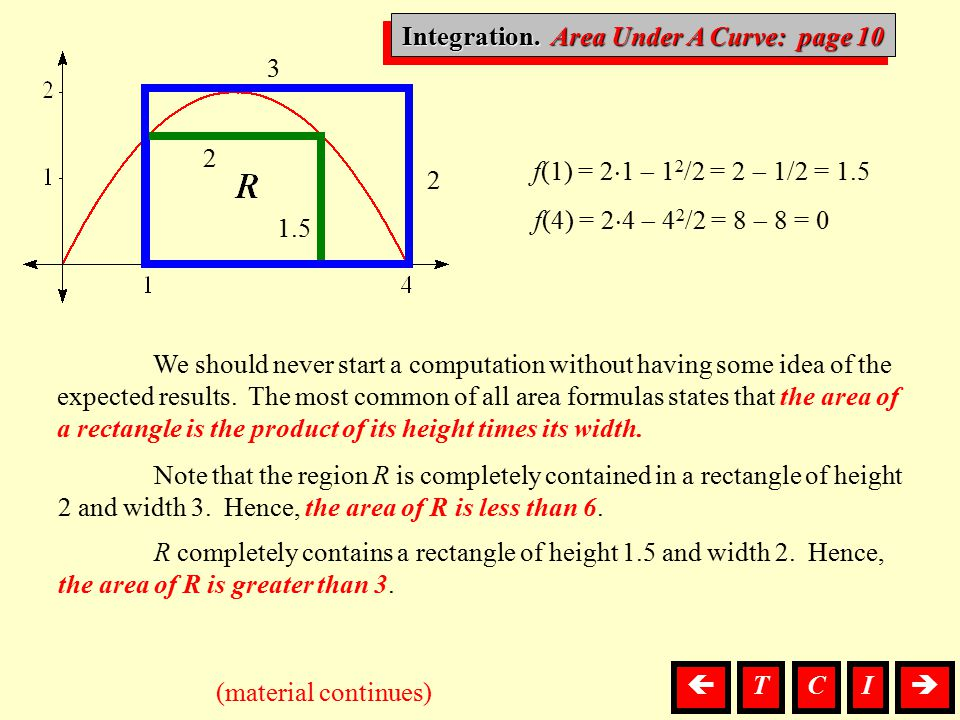 Integration, Area We should never start a computation without having some idea of the expected results. The most common of all area formulas states th