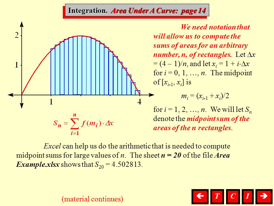 Integration, Area We need notation that will allow us to compute the sums of areas for an arbitrary number, n, of rectangles. Let  x = (4  1)/n, and