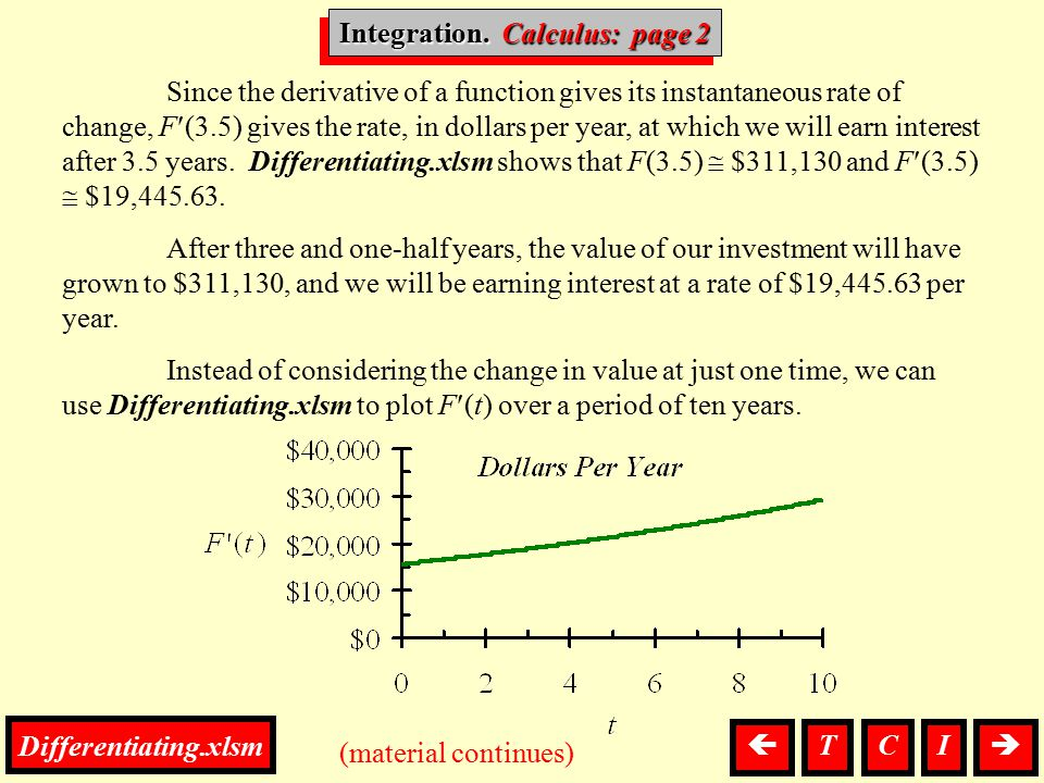 Integration, Calculus (material continues) Since the derivative of a function gives its instantaneous rate of change, F(3.5) gives the rate, in dollar