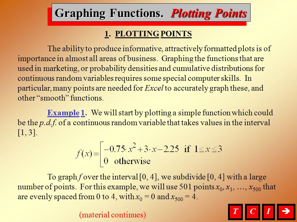 Graphing Functions, Plotting Points 1. PLOTTING POINTS The ability to produce informative, attractively formatted plots is of importance in almost all