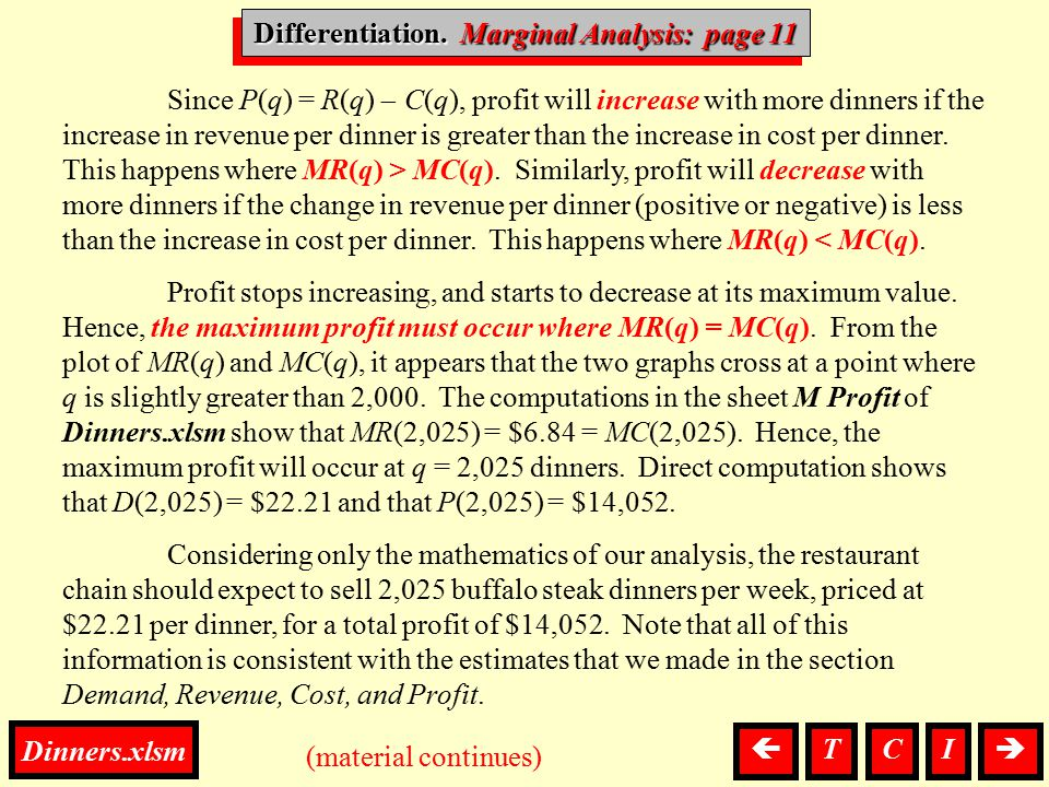 Differentiation, Marginal Since P(q) = R(q)  C(q), profit will increase with more dinners if the increase in revenue per dinner is greater than the i