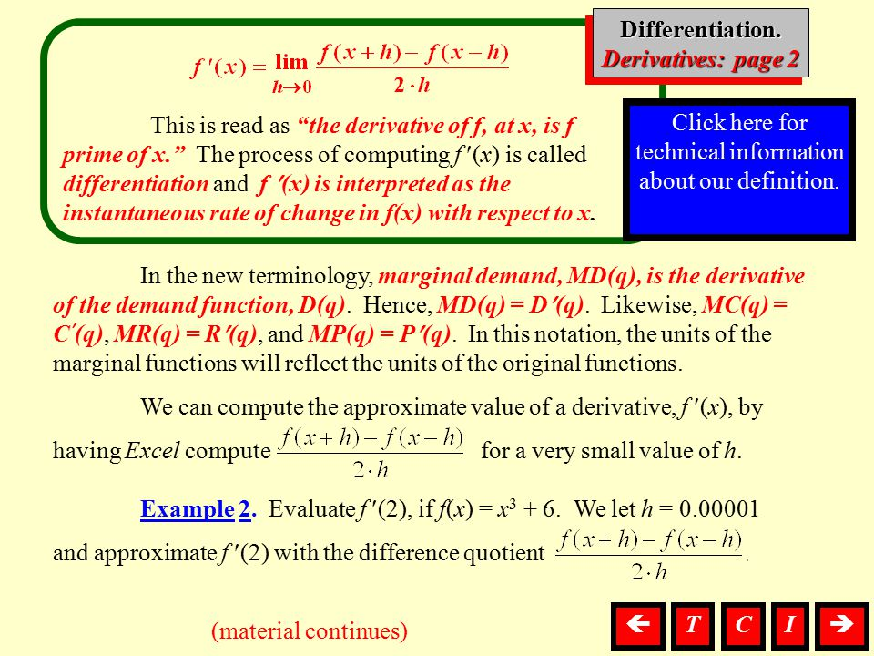 "This is read as ""the derivative of f, at x, is f prime of x."" The process of computing f (x) is called differentiation and f (x) is interpreted as the"