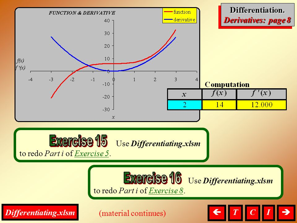 Differentiation, Derivatives Differentiation. Derivatives: page 8 Differentiation. (material continues)  I Use Differentiating.xlsm to redo Part i o