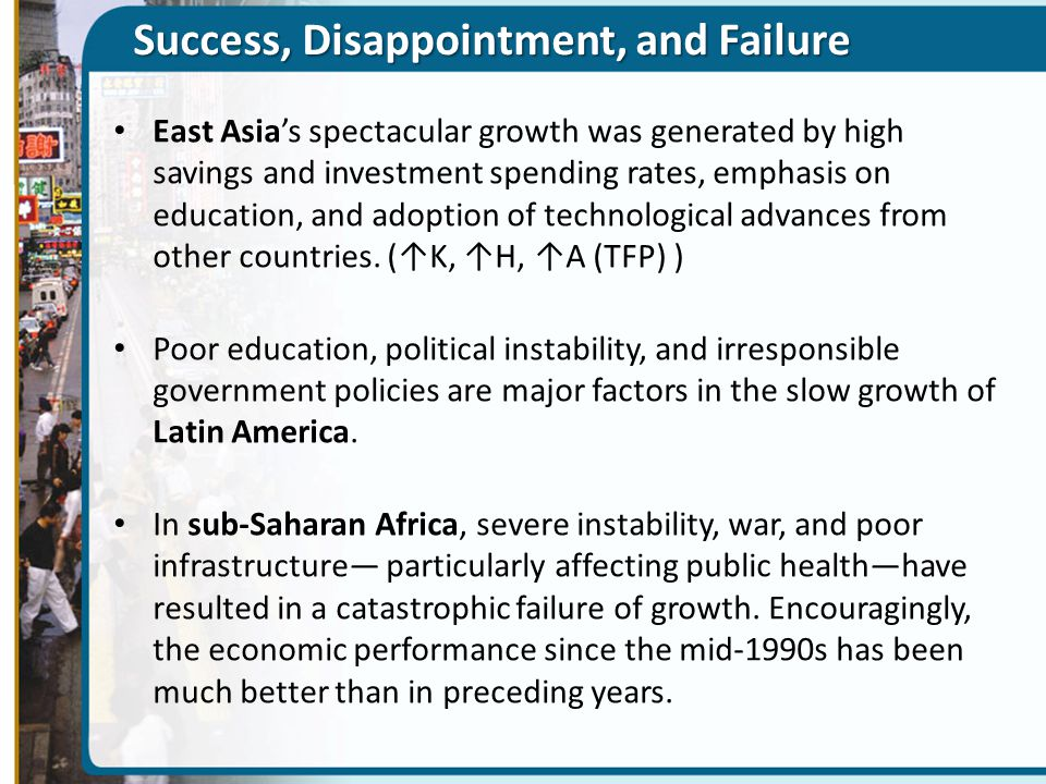 Success, Disappointment, and Failure East Asia's spectacular growth was generated by high savings and investment spending rates, emphasis on education