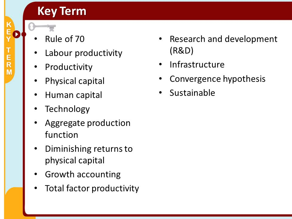 Rule of 70 Labour productivity Productivity Physical capital Human capital Technology Aggregate production function Diminishing returns to physical ca