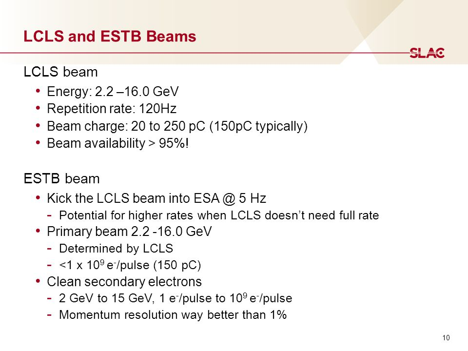 LCLS and ESTB Beams LCLS beam Energy: 2.2 –16.0 GeV Repetition rate: 120Hz Beam charge: 20 to 250 pC (150pC typically) Beam availability > 95%.