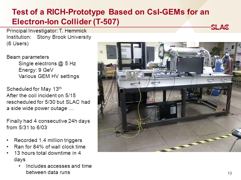 Test of a RICH-Prototype Based on CsI-GEMs for an Electron-Ion Collider (T-507) Principal Investigator: T. Hemmick Institution: Stony Brook University