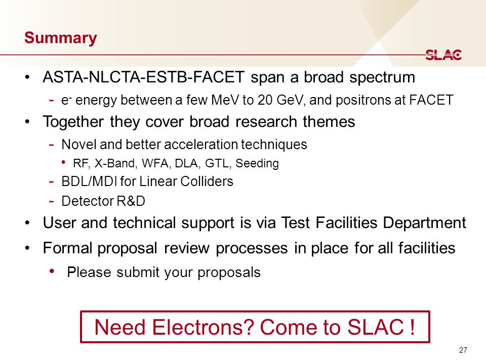 Summary ASTA-NLCTA-ESTB-FACET span a broad spectrum - e - energy between a few MeV to 20 GeV, and positrons at FACET Together they cover broad research themes - Novel and better acceleration techniques RF, X-Band, WFA, DLA, GTL, Seeding - BDL/MDI for Linear Colliders - Detector R&D User and technical support is via Test Facilities Department Formal proposal review processes in place for all facilities Please submit your proposals Need Electrons.