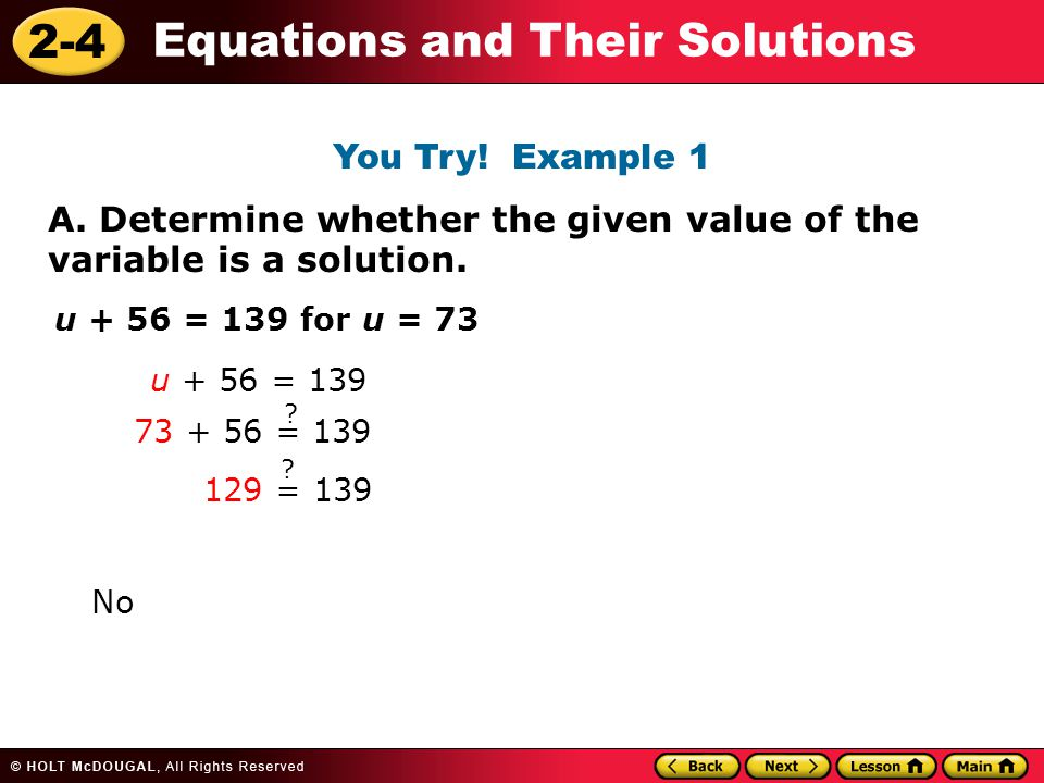 2-4 Equations and Their Solutions A.