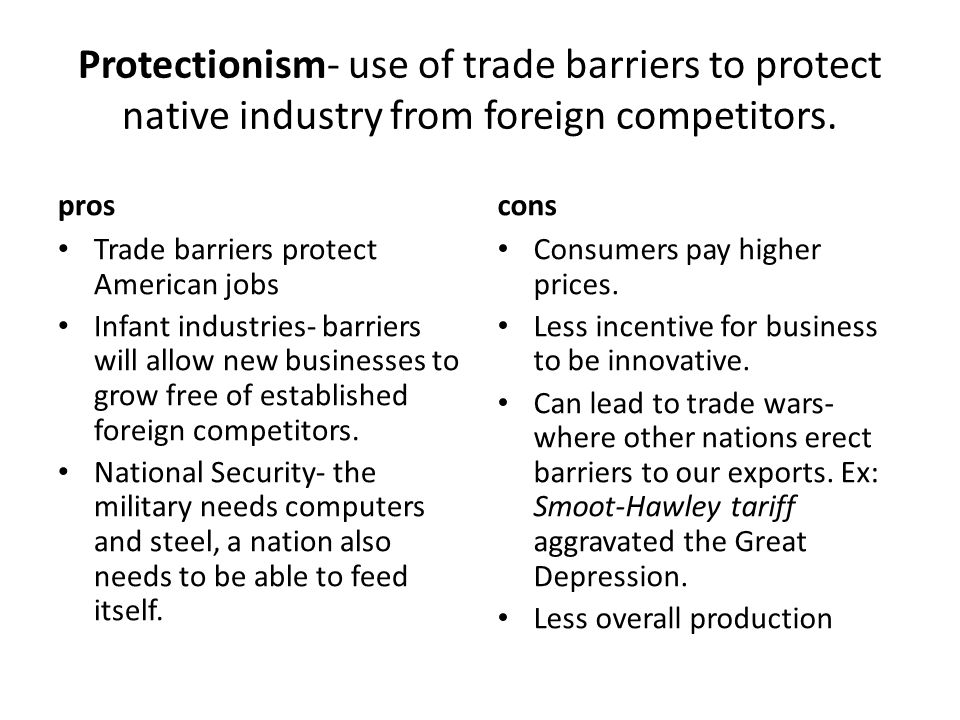 Protectionism- use of trade barriers to protect native industry from foreign competitors.