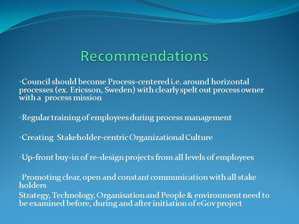 Council should become Process-centered i.e. around horizontal processes (ex.