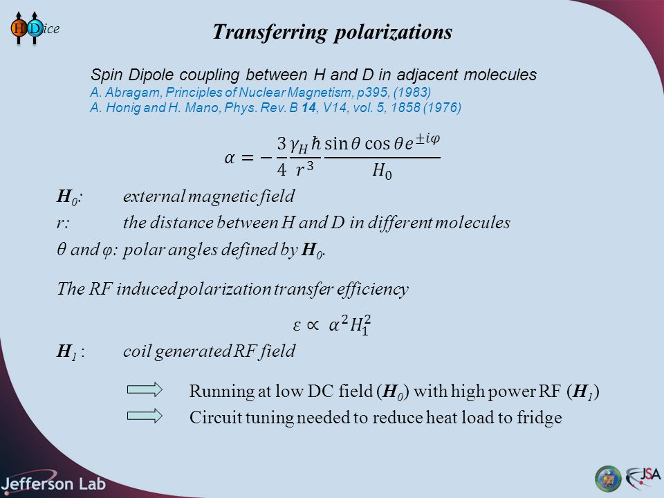 Transferring polarizations HD Spin Dipole coupling between H and D in adjacent molecules A. Abragam, Principles of Nuclear Magnetism, p395, (1983) A.