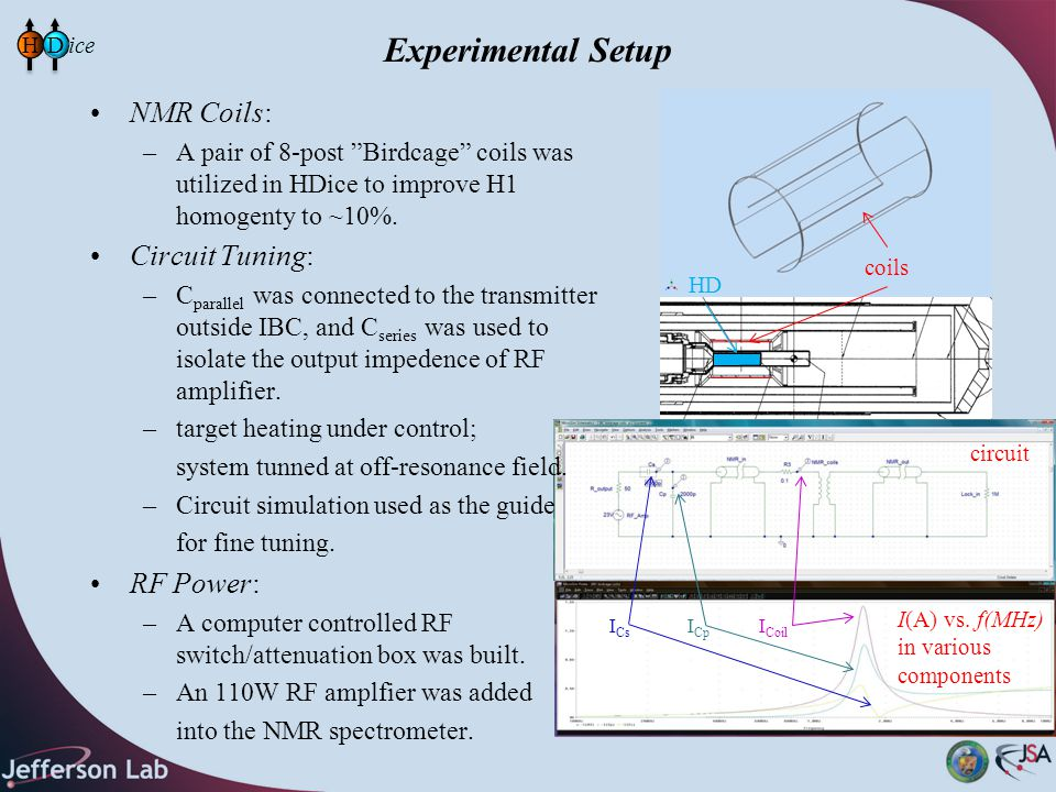 "Experimental Setup NMR Coils: –A pair of 8-post ""Birdcage"" coils was utilized in HDice to improve H1 homogenty to ~10%. Circuit Tuning: –C parallel wa"