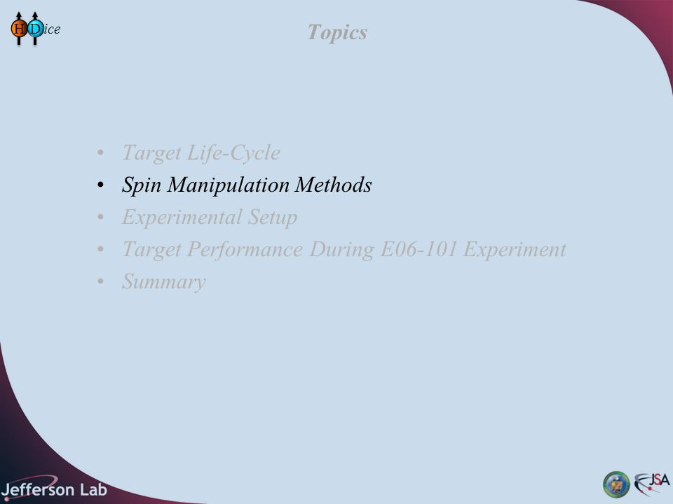 Topics Target Life-Cycle Spin Manipulation Methods Experimental Setup Target Performance During E06-101 Experiment Summary HD