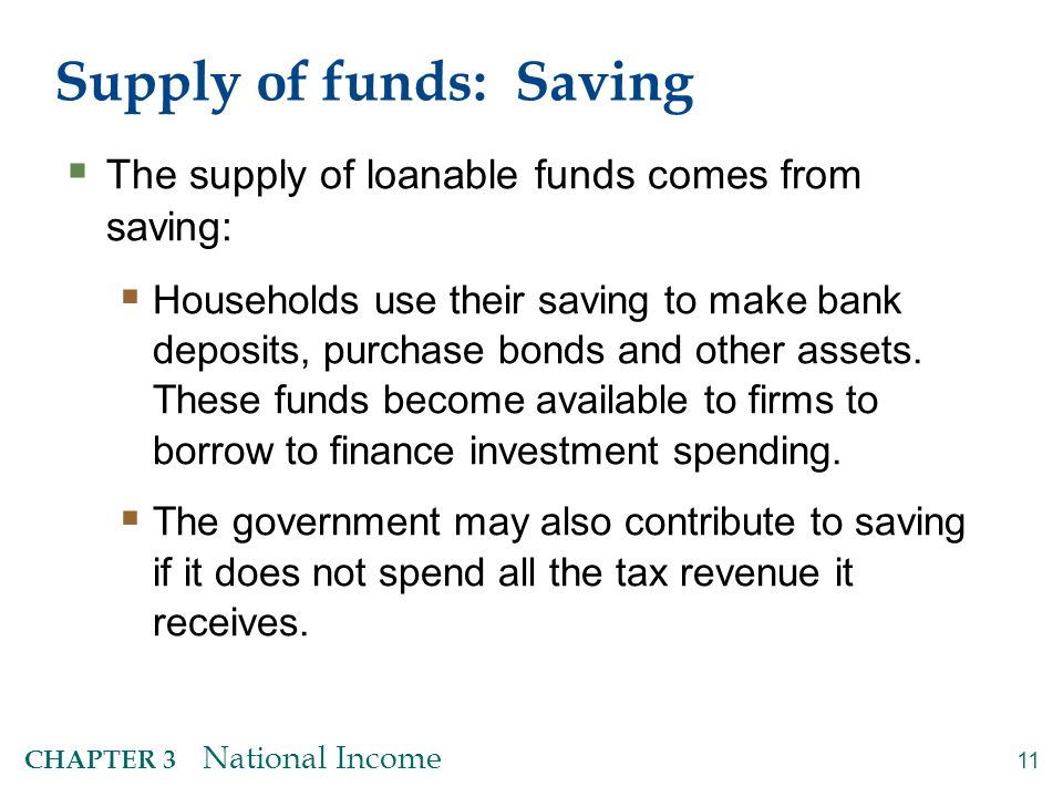 11 CHAPTER 3 National Income Supply of funds: Saving  The supply of loanable funds comes from saving:  Households use their saving to make bank depo