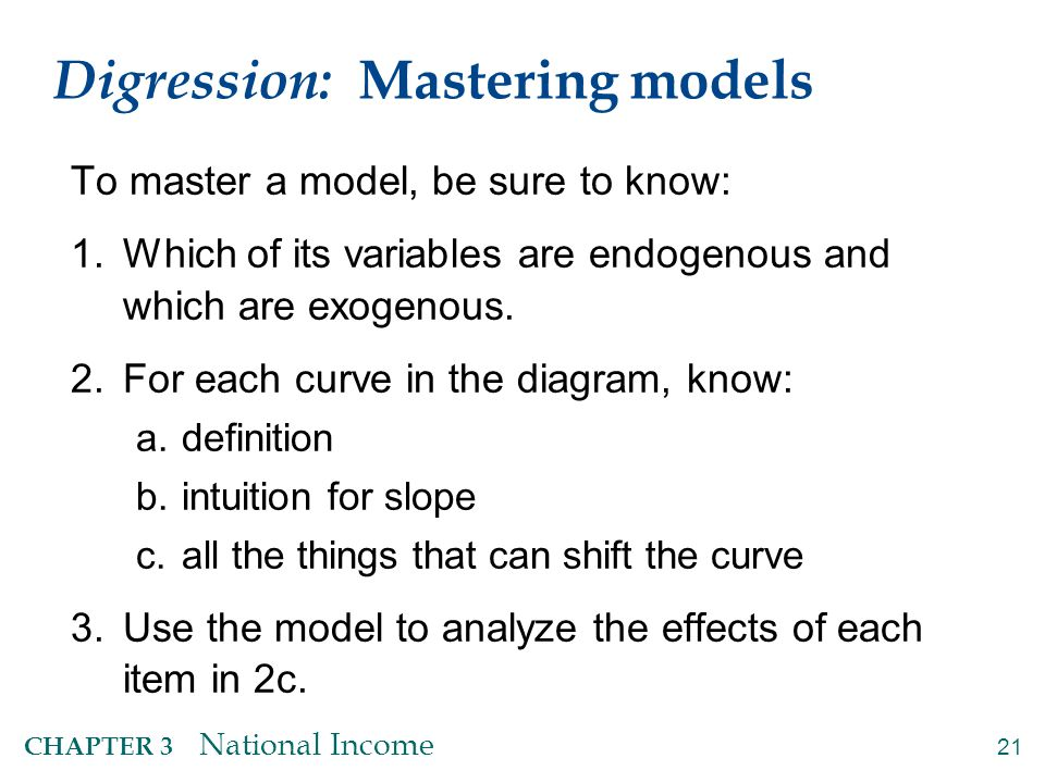 21 CHAPTER 3 National Income Digression: Mastering models To master a model, be sure to know: 1.Which of its variables are endogenous and which are ex