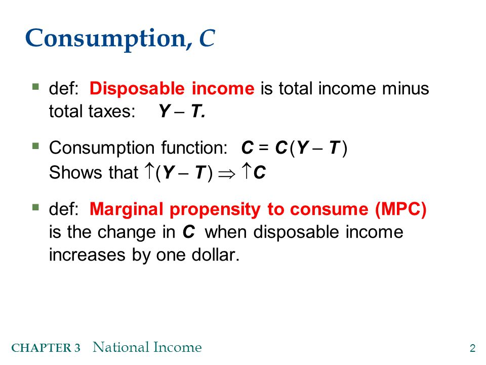 13 CHAPTER 3 National Income Notation:  = change in a variable  For any variable X,  X = the change in X  is the Greek (uppercase) letter Delta Examples:  If  L = 1 and  K = 0, then  Y = MPL.