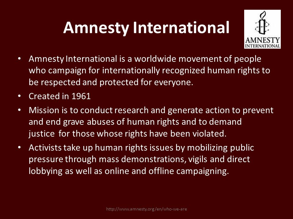 Amnesty International Amnesty International is a worldwide movement of people who campaign for internationally recognized human rights to be respected and protected for everyone.
