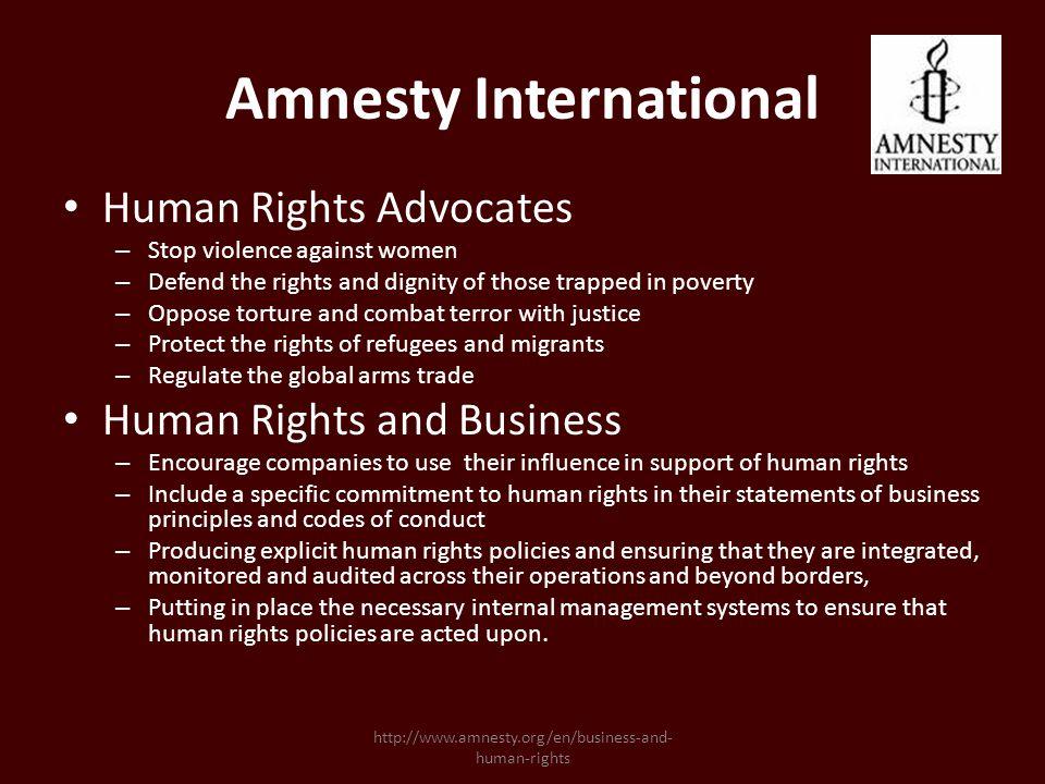 Amnesty International Amnesty has locations all around the world.