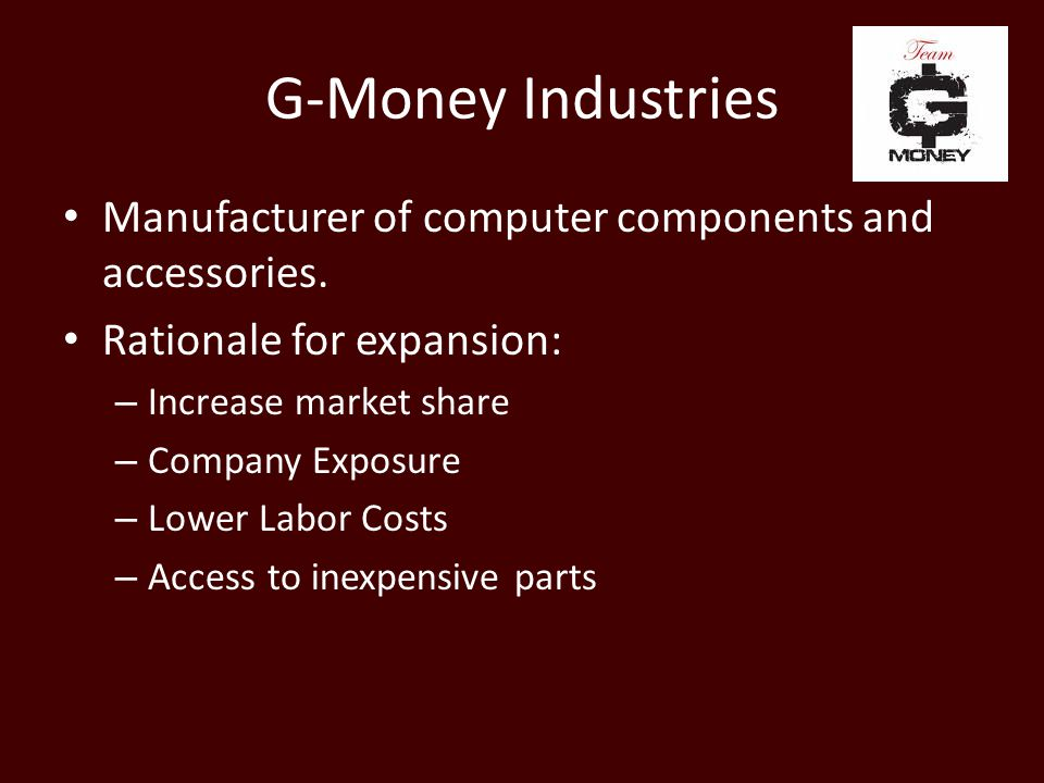 G-Money Industries Ethical Dilemmas Presented: – Fair Wages – Employee Benefits – Equal Rights – Human Rights – Safe Working Conditions