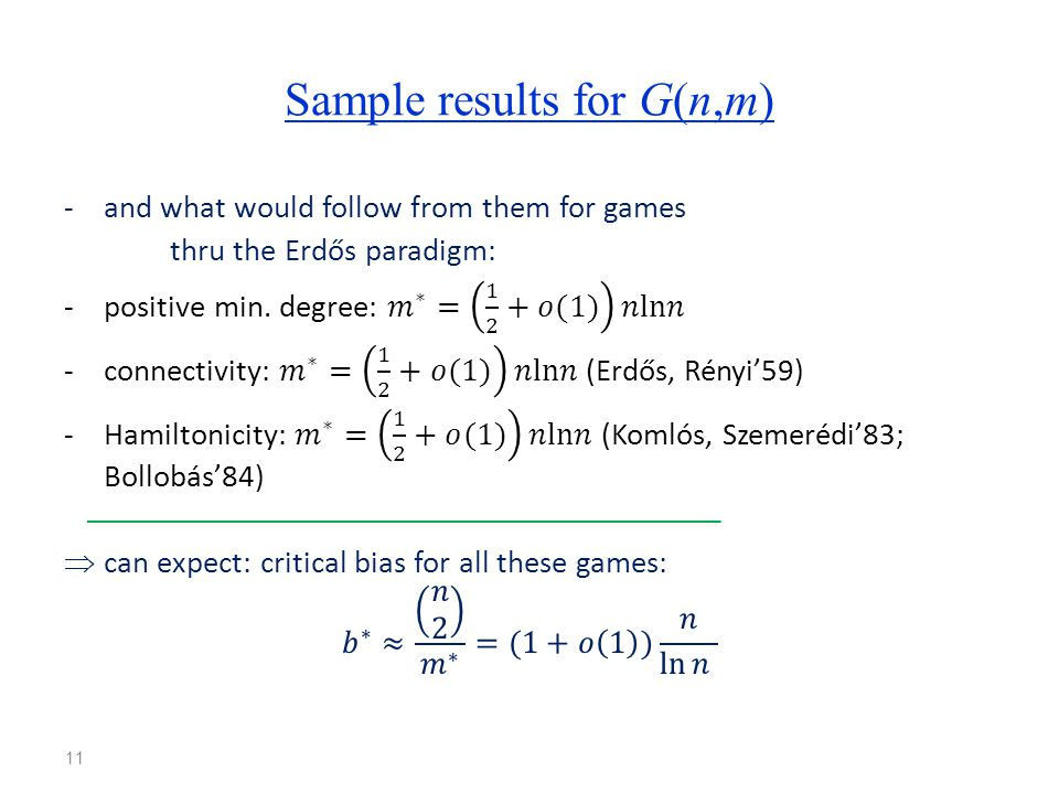 Sample results for G(n,m) 11