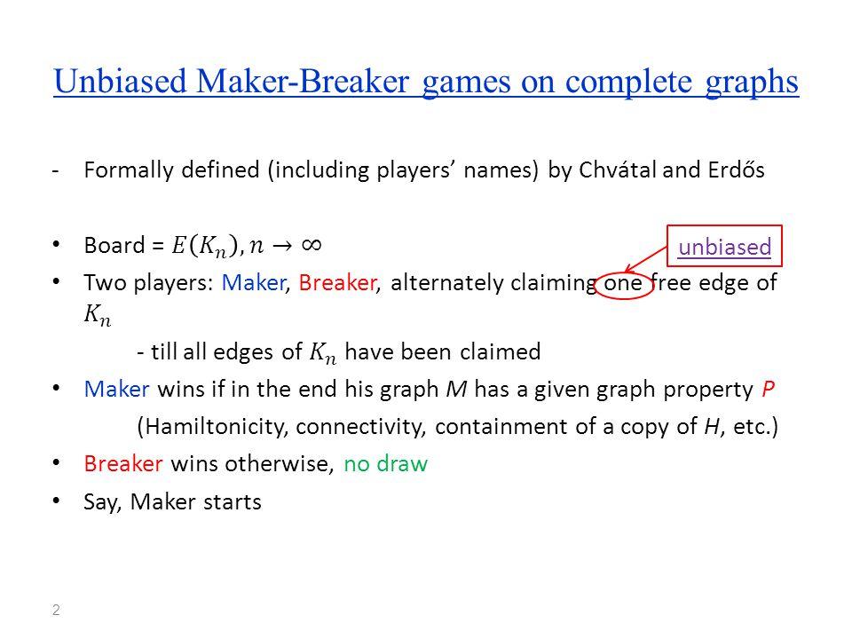 Unbiased Maker-Breaker games on complete graphs 2 unbiased