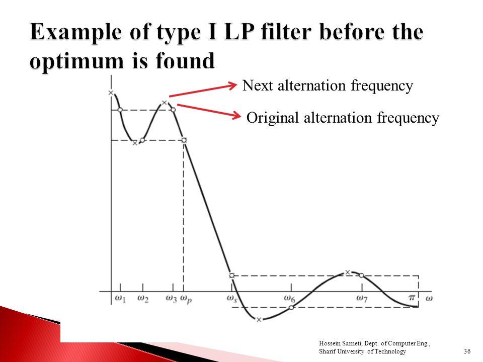36 Original alternation frequency Next alternation frequency Hossein Sameti, Dept.