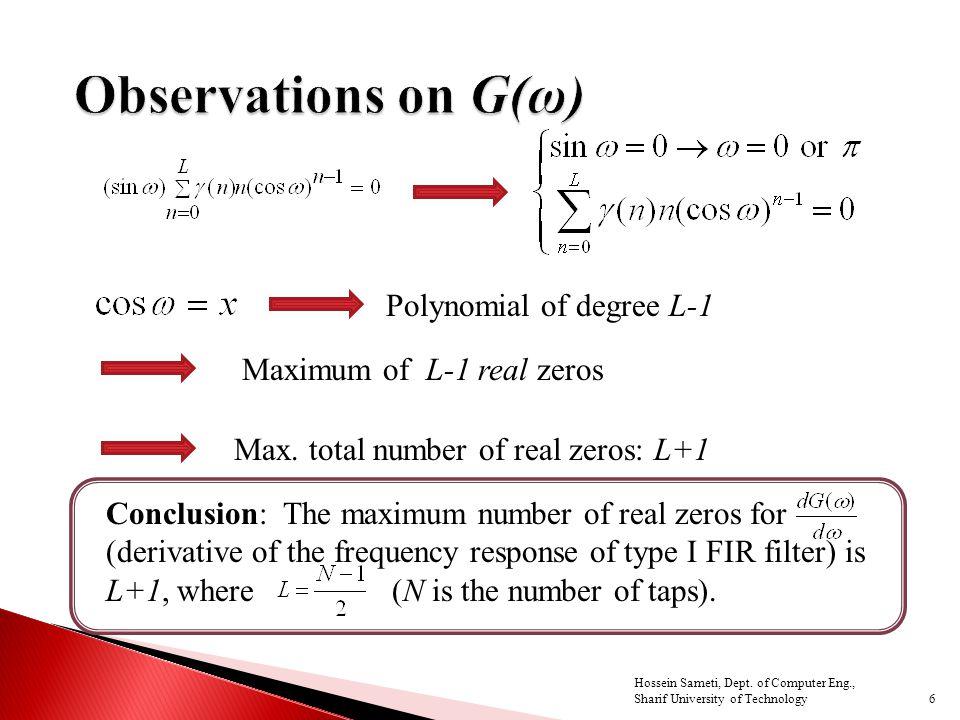 6 Polynomial of degree L-1 Maximum of L-1 real zeros Max.