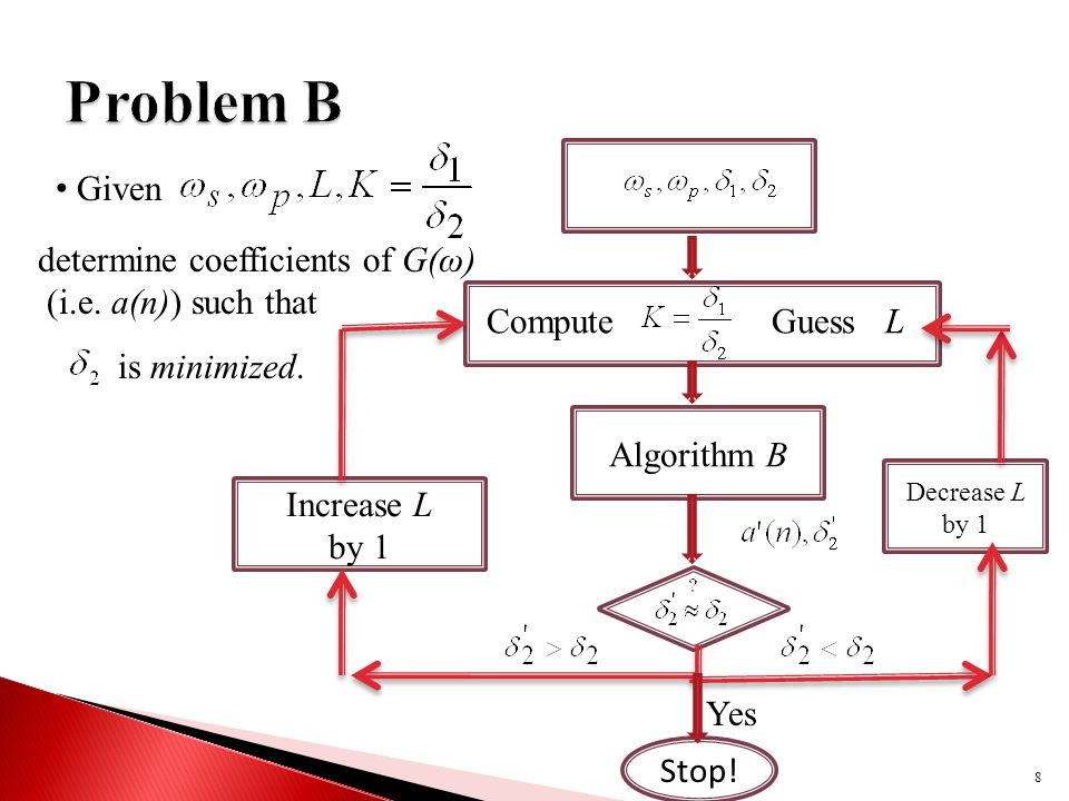 8 Given determine coefficients of G(ω) (i.e. a(n)) such that is minimized.