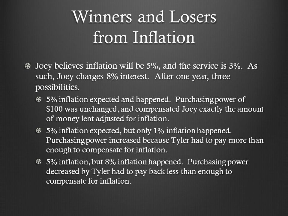 Winners and Losers from Inflation Joey believes inflation will be 5%, and the service is 3%.