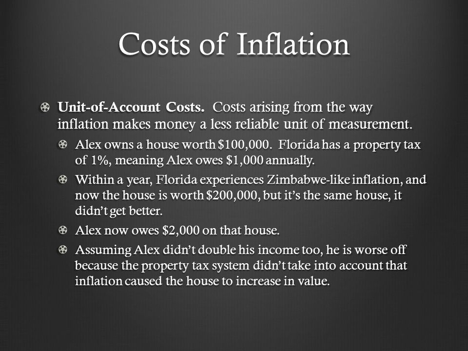 Costs of Inflation Unit-of-Account Costs. Costs arising from the way inflation makes money a less reliable unit of measurement. Alex owns a house wort