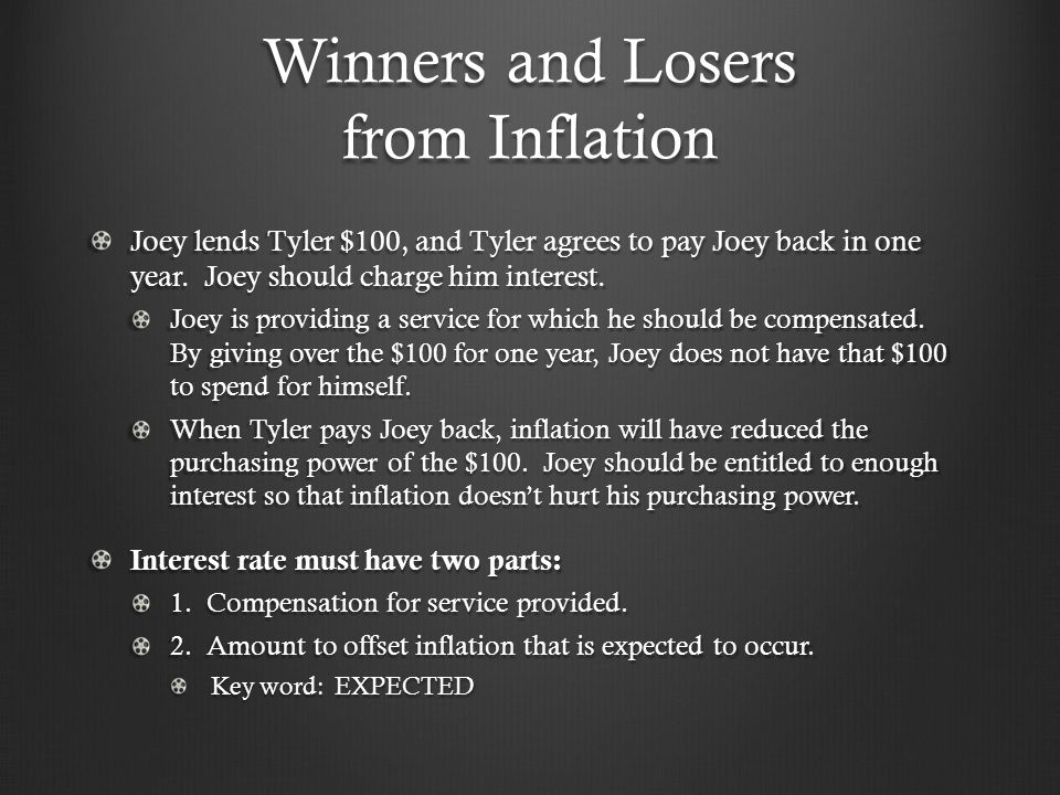 Winners and Losers from Inflation Joey lends Tyler $100, and Tyler agrees to pay Joey back in one year. Joey should charge him interest. Joey is provi