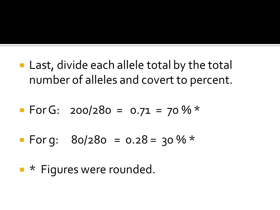  Last, divide each allele total by the total number of alleles and covert to percent.