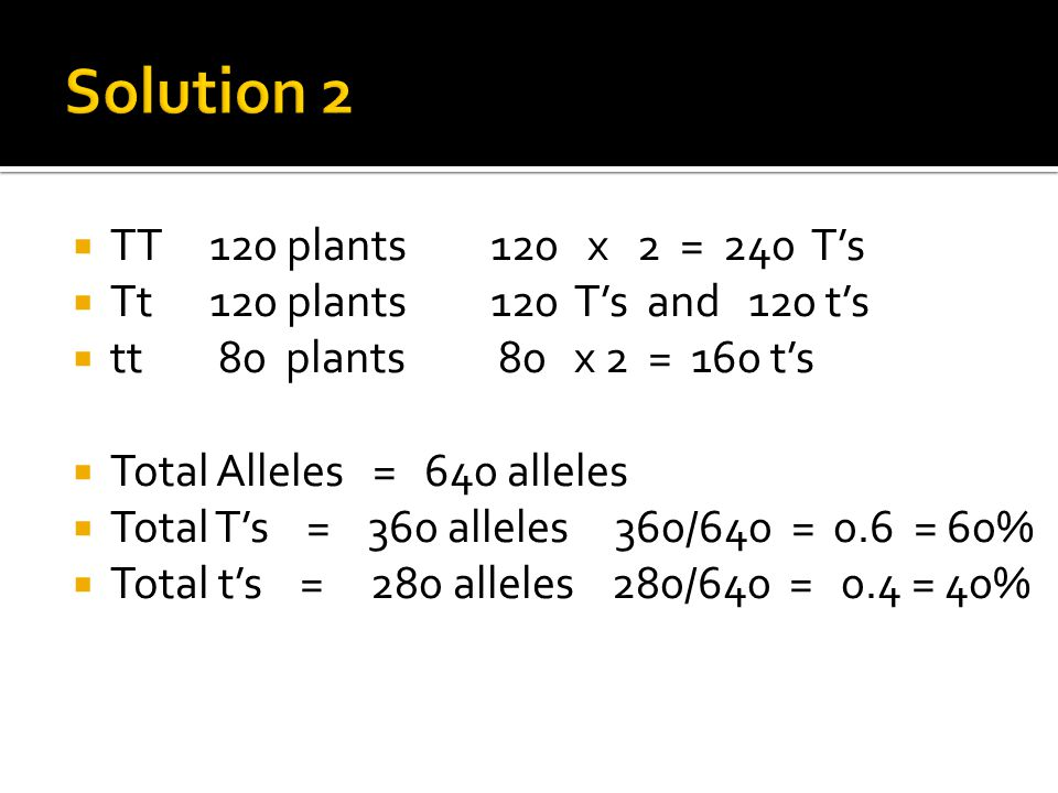  TT 120 plants 120 x 2 = 240 T's  Tt 120 plants 120 T's and 120 t's  tt 80 plants 80 x 2 = 160 t's  Total Alleles = 640 alleles  Total T's = 360 alleles 360/640 = 0.6 = 60%  Total t's = 280 alleles 280/640 = 0.4 = 40%