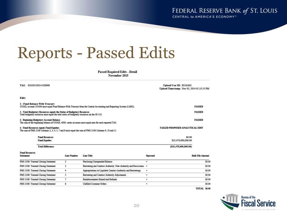 Reports - Passed Edits 20